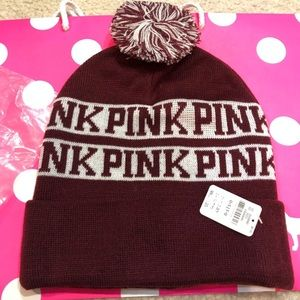 NWT Pink black orchid winter beanie with pink logo